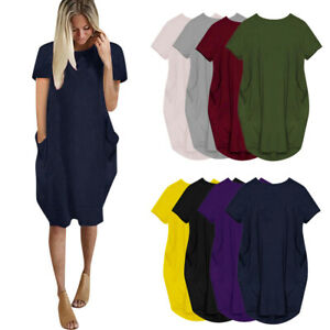 Autumn Womens Oversized Pocket Party Ladies Loose Tops Casual Stretch Mini Dress