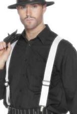 Weiß Hosenträger Elastisch mit Metall Clips Erwachsene Kostüm Zubehör