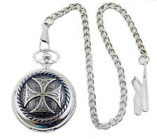 Pocketwatch with spring loaded lid and Chain Iron Cross Biker Motorcycle