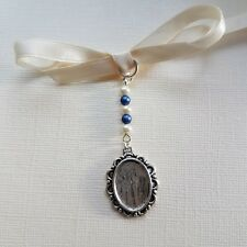 Wedding Bouquet Charm Photo Frame Charm Oval Silver Locket White & Blue Pearls