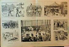 Circus, Life In A Circus, Elephant, Horse, Vintage 1887 Antique Art Print Scarce
