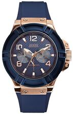 New Guess Blue Silicon Rose Gold Tone Multi Dial Men' s Watch U0247G3