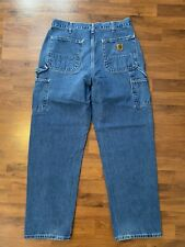 Mens Size 34x32 Carhartt Dungaree Fit Carpenter Jeans Blue