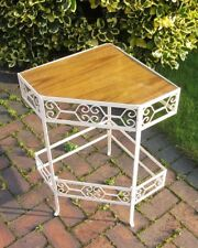 Vintage Retro Wrought Iron Metal Corner Stand Phone Table Hall Porch