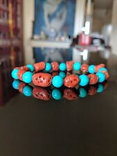 """100% Natural Italian Red Coral + Turquoise Bead Bracelet for Men 9 - 8mm, 8"""" in."""