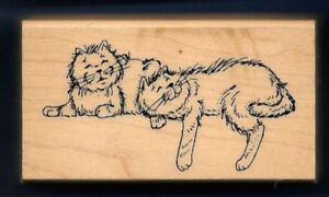 CATS FELINES Happy House Pet Sill Sitters ART IMPRESSIONS F-1263 RUBBER STAMP