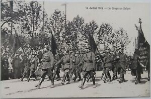 WW1 BELGIAN SOLDIERS Standards FLAGS Victory Parade Patriotic PC 1919