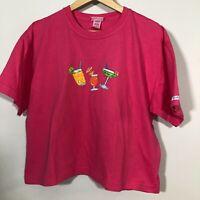 FRESH PRODUCE Tee Shirt  Pink Crop Boxy Beachy Cocktail Drinks Top
