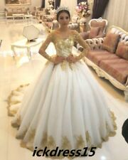 Gold Applique Bead Ball Wedding Dress Princess Long Sleeve Bridal Gown Custom