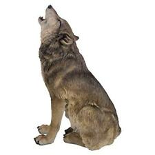 Realistic Look Statue Wildlife Howling Grey Wolf Decorative Resin Figurine
