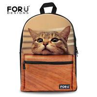 Pug Dog Cat School Book Bag Backpack Women Girl Bookbag Canvas Satchel Rucksack