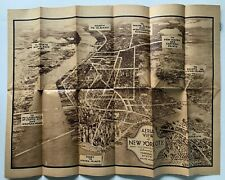 1930s Visitors Map & Hotel Directory New York City aerial birds-eye subway guide