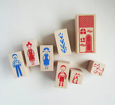 8 piece family house cat dog rubber stamp set collection with ink kawaii cute