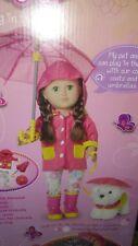 18 Inch my life Doll Pink Rain Coat Umbrella Boots Puppy American Girl clothes
