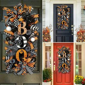 Halloween Wreath Horror Pumpkin Door Artificial Maple Hanger Wreath 60x35cm NEW