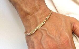14 K solid gold leather id bracelet kabbalah ani le dodi i am beloved artisan