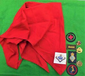 Obsolete Australian Girl Guides Ranger red scarf & 7 cloth & metal badges.