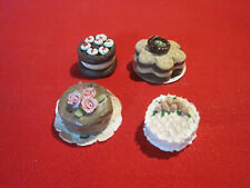 Lot of 4 miniature fancy dollhouse cakes, artisan made, 1:12 scale