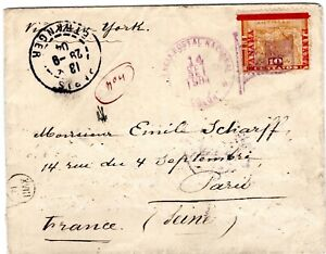 PANAMA - FRANCE - 10c COVER - COLON to PARIS via NY - 1904 - Sc 79 RRR