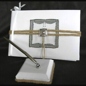 Western Wedding White Guest Book and Pen, Big Sky, Silver Concho and Brown Rope