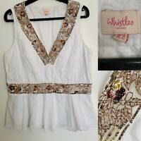 Whistles White Blouse Vintage Gold Floral Embroidery Beaded Peplum Top Size 14