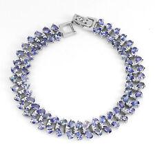 Sterling Silver Bracelet Genuine Blue Violet Tanzanite Two Row Design 7 Inch