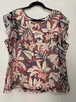 Vince Camuto Tropical Floral Print Ruffle Sleeves Flowy Blouse Top Size M Red