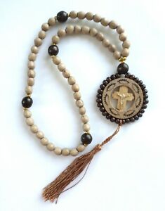 Prayer Rosary Beads Ropes Rear Mirror Car Pendant Wooden Pendant With Cross