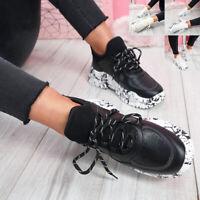 NEU Damen Grob Turnschuhe zum Schnüren Plateau Heel Sneakers