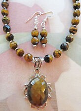 FACETED TIGER'S EYE BEAD necklace TIGER'S EYE CAB pendant, earrings 18""