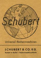 Schubert Universal-Rechenmaschinen Dokumentation Gebrauchsanleitung