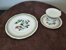 Vintage Duchess Bone China Trio - Tea Cup, Saucer, and Dessert Plate Blueberries