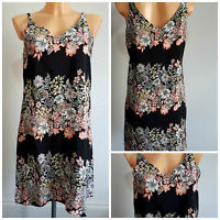 NEW F&F Ladies BLACK Floral Print Dress Strappy Summer Dress Size 6 - 18