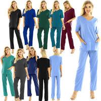 Mens Womens Hospital Medical Doctor Nurse Scrubs Tunic Work Uniform 2 Piece Suit