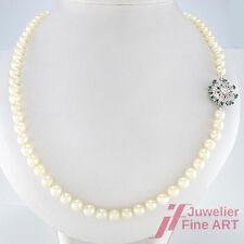 Perlenkette -Ø 6,3 mm -73 cm - 39,5 g -14K/585 WG Schließe -8 Smaragde + Diamant