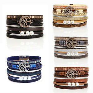 Women Tree Life Beads Multi-layer Leather Wristband Bangle Wrap Bracelet Gift