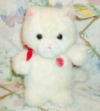 "RUSS GEM FRIENDS JULY BIRTHDAY RUBY RED BIRTHSTONE WHITE PLUSH 8"" CAT MWT"