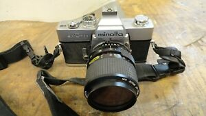 MINOLTA SRT 303 35MM WITH MANY DIFFERENT LENSES (4) AND FLASH