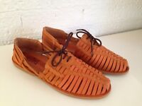 2a869a985 Men s Summer Flat Lace Up Dark Tan Woven Braided Leather Casual Shoes 42-43-
