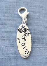 Tag dangle pendant LOVE Clip On Charm fits Link Chain, Floating Locket C142
