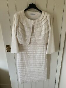 Gina Bacconi Size 10 Dress And Jacket Cream Wedding Outfit
