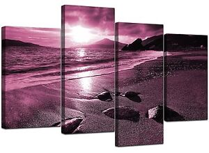 Large Plum Landscape Canvas Wall Art Pictures XL 130cm Prints Set 4078