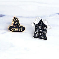 Cute Enamel cowboy black Witch Hat and Sititch Sweater Brooch Pin Women Gift