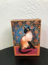 The San Francisco Music Box Co 1989 Leslie Ann Ivory Siamese Cat Rectangular