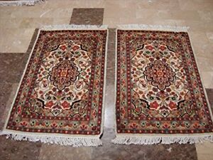 Ivory Area Rug Flower Medallion Hand Knotted Rug Wool Silk Carpet Pair (3 x 2)'