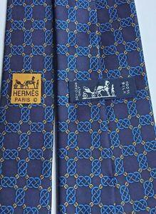 HERMES  navy,Royal blue print Soie / Silk Tie.Made in France 🇫🇷 model 7300 EA