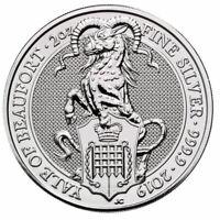 2019 Britain 2 oz Silver Queen's Beasts Yale of Beaufort £5 Coin GEM BU SKU57311