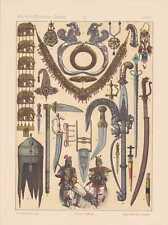 Inder Indische Kunst Waffen Schmuck LITHOGRAPHIE von 1883