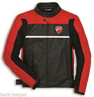 DUCATI Dainese COMPANY 2 Lederjacke Jacke Leather Jacket schwarz rot NEU !!