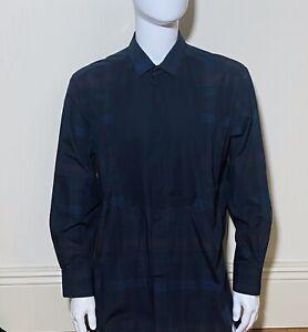Long Sleeve Shirt By Lanvin Navy Blue Tartan  100 Cotton Tuxedo Shirt Size 42